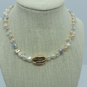 Aqua shell gold necklace